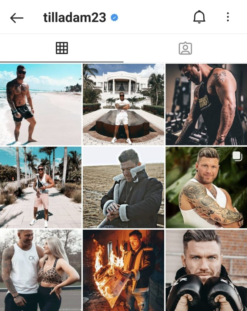 Till Adam Instagram Ex on the Beach, Love Island, Take me out XXL, Temptation Island